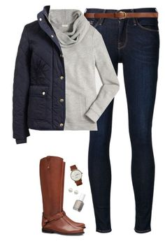 """Navy quilted coat, sweatshirt & boots"" by steffiestaffie ❤ liked on Polyvore featuring Frame Denim, H&M, J.Crew, Tory Burch, Triwa, Majorica and Essie"