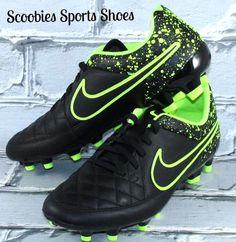 new arrival 5d3e7 fa80d NEW Mens Nike Tiempo Genio Leather FG Soccer Cleats Black Volt  Nike Mens  Soccer