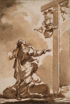 Ubaldo Gandolfi (1728-1781), The vision of Saint Helena / La vision de sainte Hélène; Plume et encre brune, lavis brun