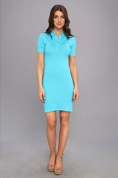 $135 NEW LACOSTE Blue 38 STRETCH POLO PIQUE DRESS SIZE 6 CROC EMBROIDERED #Lacoste #PoloDressShirtDressPolo #Casual