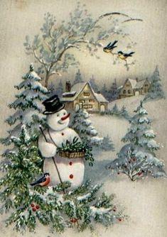Old time Christmas scene. Vintage Christmas Images, Retro Christmas, Vintage Holiday, Christmas Pictures, Christmas Art, Christmas Greetings, Winter Christmas, Christmas Decorations, Christmas Images For Cards