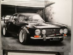 Alfa Romeo Giulia 1970 airbrush on canvas 70x50cm.