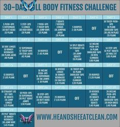 30-Day Full Body Fitness Challenge 30-Day Full Body Fitness Challenge | He and She Eat Clean<br> This free 30-Day Fitness Challenge will work your entire body including your abs, arms, and legs. By doing the squats, planks, and push-ups (among other exercises) you will get the results you are looking for!