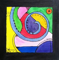 Abstract embroidery mixed media canvas art by osbornemixedmedia, $60.00