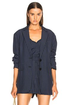Shop for Tibi Viscose Gingham Oversized Blazer in Navy Multi at FWRD. Free 2 day shipping and returns. Style Wish, My Style, Simple Fall Outfits, Blazer Pattern, Oversized Blazer, Blazer Outfits, Who What Wear, Overall Shorts, Gingham