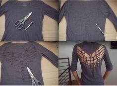 diy shirt recut with wings