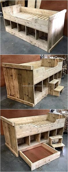 Wood Pallets Ideas wooden pallets kids bed idea - Creative people don't necessarily have the skills which can assist them in giving a solid appearance of what they think, so their ideas are used. Wooden Pallet Projects, Wooden Pallet Furniture, Pallet Crafts, Wooden Pallets, Kids Furniture, Pallet Wood, Pallet Couch, Pallet Patio, Furniture Plans