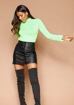 268b1ada977 Missyempire - Aislin Black Faux Leather Button Front Mini Skirt Black Faux  Leather, Mini Skirts