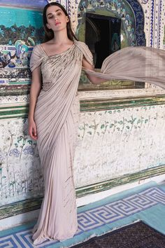 Apr 2020 - Buy Embellished Saree Gown by Gaurav Gupta at Aza Fashions Saree Designs Party Wear, Saree Blouse Designs, Lehenga Designs, Party Wear Sarees, Indian Wedding Outfits, Bridal Outfits, Indian Outfits, Indian Attire, Indian Clothes