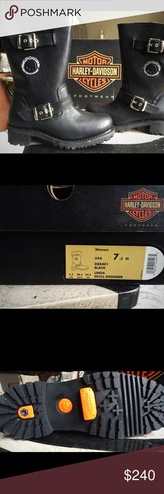 NWT Women's Leather Harley Moto Riding Boots BRAND NEW IN BOX. These puppies are super nice! Retails for $285+ tax. Black leather. Size: 7.5. Model: Linda Skull Engineer. See pic of box for specific info. No unreasonable lowball offers please. Quick shipping! Make offer!!! Thanks! Harley-Davidson Shoes
