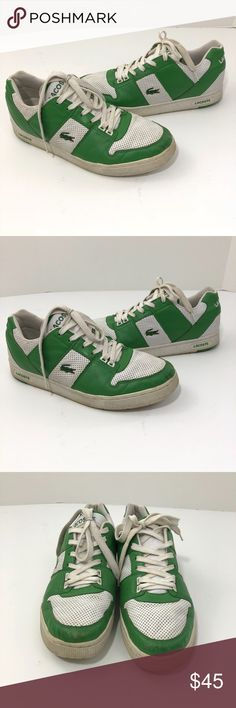 Lacoste Sport Thrill Punched Men's Shoes 11.5 --Size 11.5 --Very good, preowned condition --Green and white Lacoste Shoes Sneakers