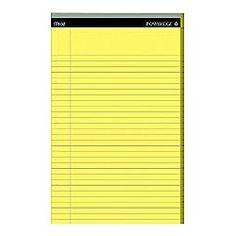 I just love a big fresh yellow narrow ruled legal pad and sharp pencil.