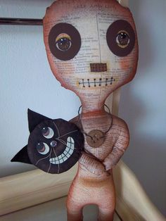 Halloween primitive pumpkin art doll handmade grungy black cat fall home decor  OOAK.