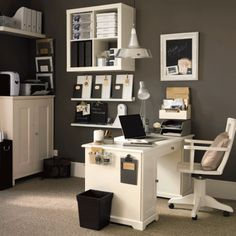Period style home office  Stylish grey walls give classic white furniture a modern twist and create a bold statement.