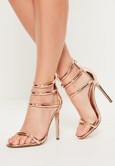 d39214298da Missguided - Rose Gold Rounded Four Strap Barely There Heels Prom Heels