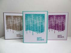 """Winter Trees,"" Hero Arts, By Patscrap91. Uses a negative image stamp."