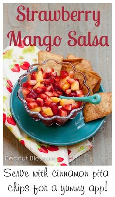 {Strawberry Mango Salsa with cinnamon pita chips} Oh my yummy. I *love* peach salsa. I tried strawberry bruschetta this summer and it was delicious. This looks like heaven on a hot day with a big cold glass of water. Have you tried a similar recipe? Should I give it a go?!?!