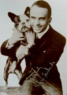 Douglas Fairbanks and Boston Terrier friend