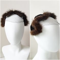 Vintage 1950s 1960s Velvet and Fur Hat headband with Netting