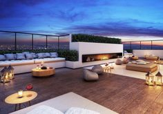 Stone patio terrace and terraced patio designs. Get inspired by these swoon-worthy terrace and patio ideas. Roof Terrace Design, Rooftop Design, Rooftop Lounge, Rooftop Terrace, Patio Design, House Design, Design Room, Design Art, Design Ideas