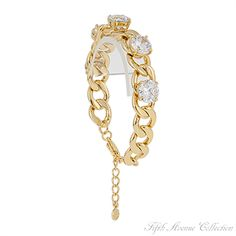 Chain bracelet studded with AAA quality cubic zirconia, from Fifth Avenue Collection.