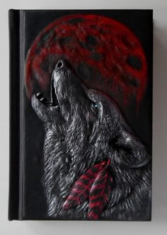 Blood moon howling wolf polymer clay journal native by ClaymanPL