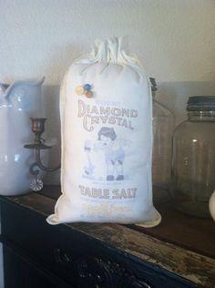 Vintage salt sack pillow  on Etsy, $15.50