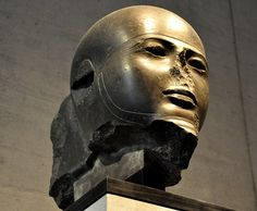 """""""Greywacke head from a colossal figure of the Egyptian god Ptah. New Kingdom, 18th Dynasty, 1370 BCE. (State Museum of Egyptian Art, Munich, Germany)."""" ^**^"""