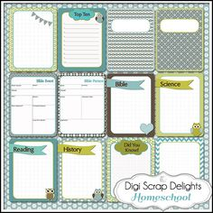Free homeschool or school Becky Higgins' Project Life journal cards or pocket cards #blue #green