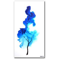 """One Minute Abstract Painting, """"Sky Blue"""" acrylic painting of a tree by P..."""
