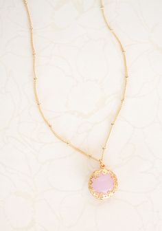 """Shared Moments Necklace  16.99 at shopruche.com. A faceted quartz stone in baby pink shimmers from a delicate gold colored chain on this feminine and demure necklace.16"""" long"""