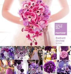 Radiant Orchid, Pantone's 2014 Color of the Year, evokes love and happiness through a beautiful mix of pink, purple and fuschia, making it a fantastic symbol that can be incorporated into any wedding element.