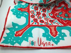 Vintage Vera Neumann Ladybug Scarf, Teal Turquoise Blue Green with Red.