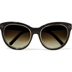 Chloé - Round-frame Acetate Sunglasses (€135) ❤ liked on Polyvore featuring accessories, eyewear, sunglasses, black, glasses, oculos, chloe glasses, acetate glasses, chloe eyewear and uv protection glasses