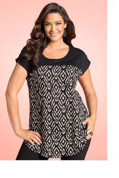 Plus Size Women's Fashion - Sara Spliced Print Tunic - EziBuy Australia