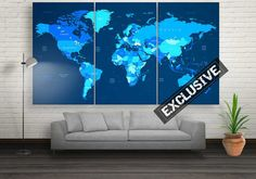 Large Modern World Map Wall Decor Canvas Prints by CanvasFactoryCo