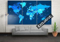 Large Modern World Map Wall Decor Canvas Prints by CanvasFactoryCo World Map Wall Decor, Wall Art Decor, Canvas Frame, Canvas Wall Art, Canvas Prints, Graffiti Wall Art, World Map Canvas, Diy Frame, Modern Artwork