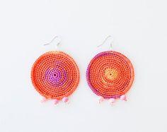 Hoop Earrings. Jewelry Earrings Crochet by CrochetJewelryNada