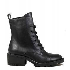 Boots rangers en cuir noir Kendall + Kylie Park Black Leather