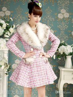 Wholesale Women Outwear - Buy In Store! Christmas Elegant Women Outwear Pink Grid Wool Slim Women Coats Women Party Coats S L PD1114224, $258.0 | DHgate