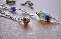 MOONS and STARS sterling silver and rainbow fluorite by srgoddess