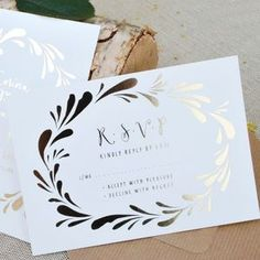 Flower Crown Foiled Wedding RSVP -  Full of texture, organic fabrics and more moss than you can shake a distressed stick at; Autumn-inspired wedding styling is all about natural simplicity.