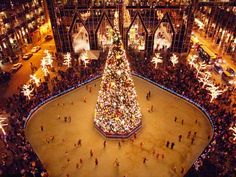 Pittsburgh in the winter. The PPG building surrounding the ice rink and Christmas tree. beautiful !