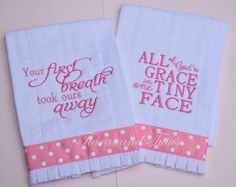 Burp Cloth Set of 2 Pink Embroidered Baby by elainestiarasntutus