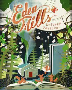 Eden Mills Writers' Festival poster on Behance