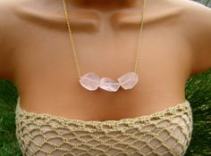 Raw Pastel Pink Rose Quartz Necklace. Spring colors. Fashion. by CuppaCoffee
