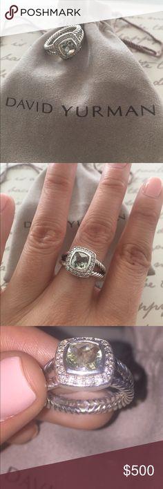 David Yurman petite Albion ring David Yurman petite Albion ring with prasiolite and diamonds. Sterling silver, faced prasiolite, 7x7mm, pave diamonds, 0.17 total carat weight. Split shank. Size 6 David Yurman Jewelry Rings