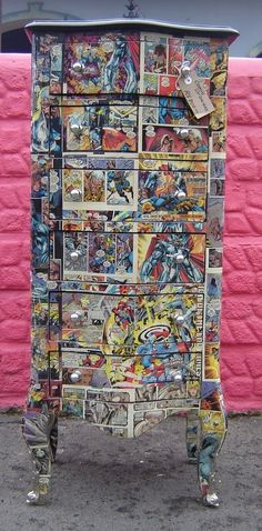 furniture decoupage with comics.
