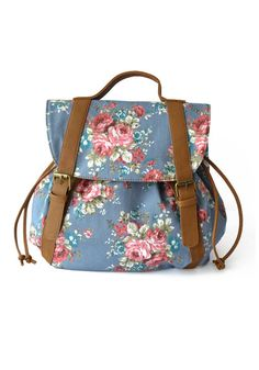 Floral Print Backpack - Fully Lined Bag