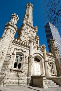 The Chicago Water Tower at 806 North Michigan Avenue, built in 1869 and survived the great fire of 1871.  (Chicago Pin of the Day, 3/03/2017).